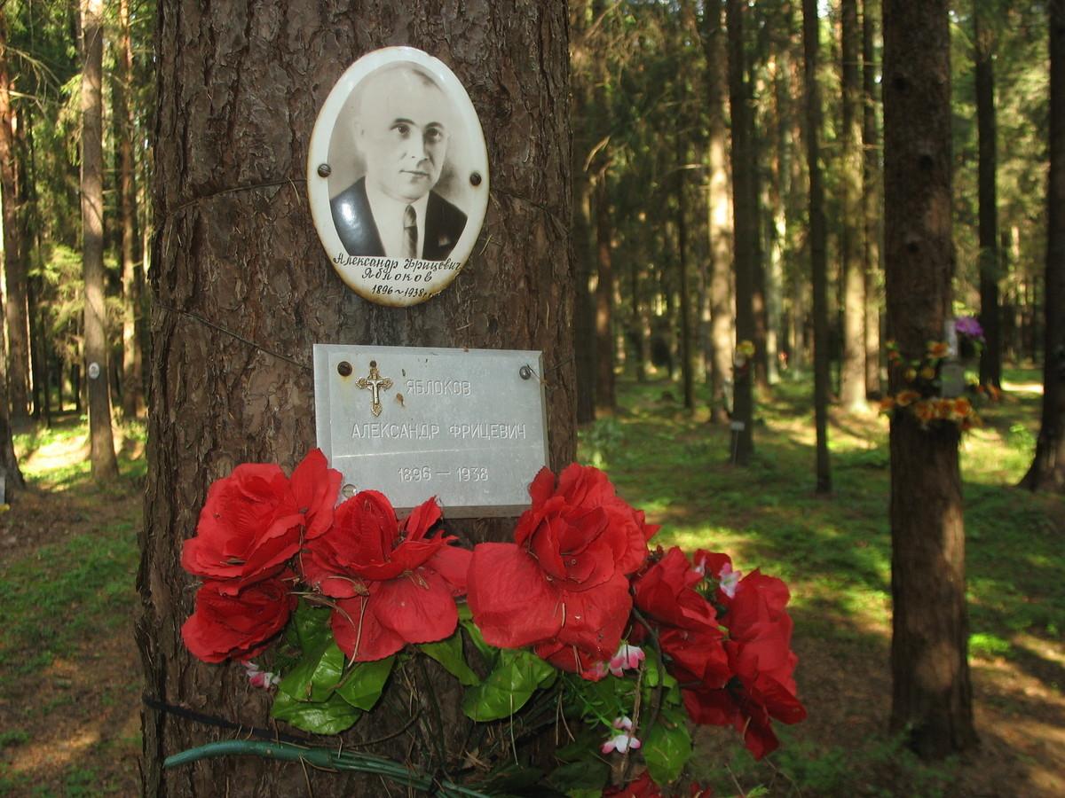 Памятный знак А. Ф. Яблокову. Фото 23.08.2007
