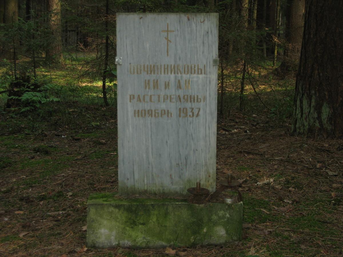Символическое надгробие И. И. и А. И. Овчинниковых. Фото 23.08.2007