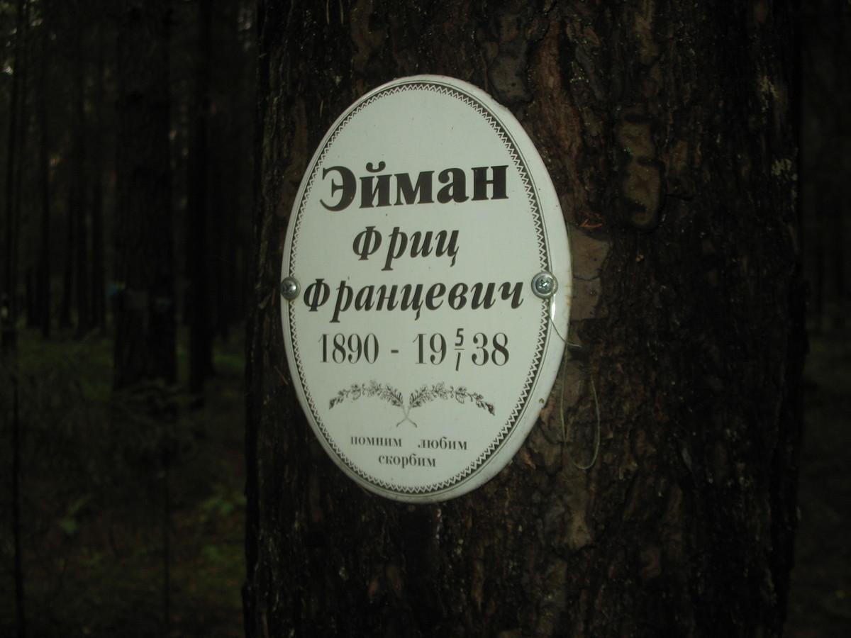 Памятная табличка Ф. Ф. Эйману. Фото 25.08.2007
