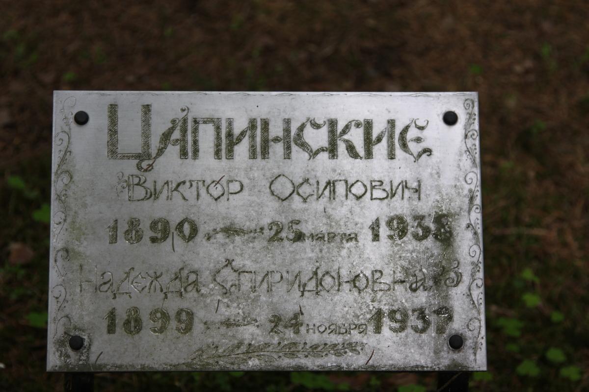 Памятная табличка В. О. и Н. С. Цапинским. Фото 05.06.2017
