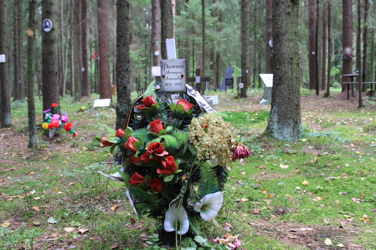 Памятный крест Е. А. Филюте. Фото 02.09.2017