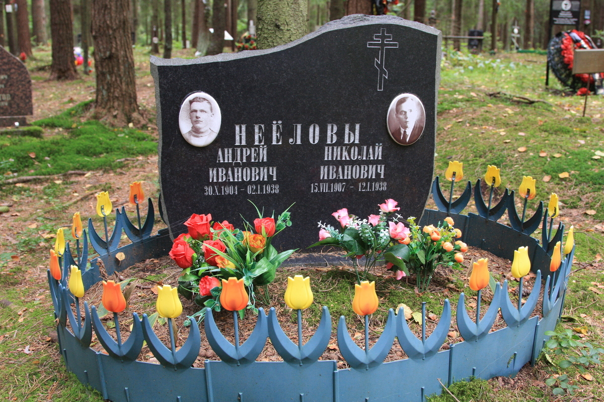 Символическое надгробие А. И. и Н. И. Нееловых. Фото 02.09.2017