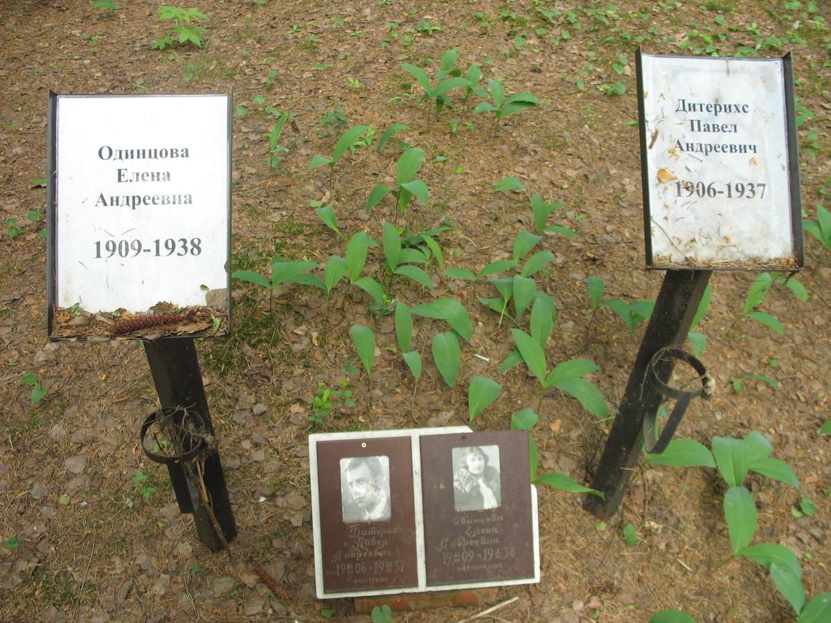 Памятный знак Е. А. Одинцовой и П. А. Дитерихсу. Фото 06.06.2007