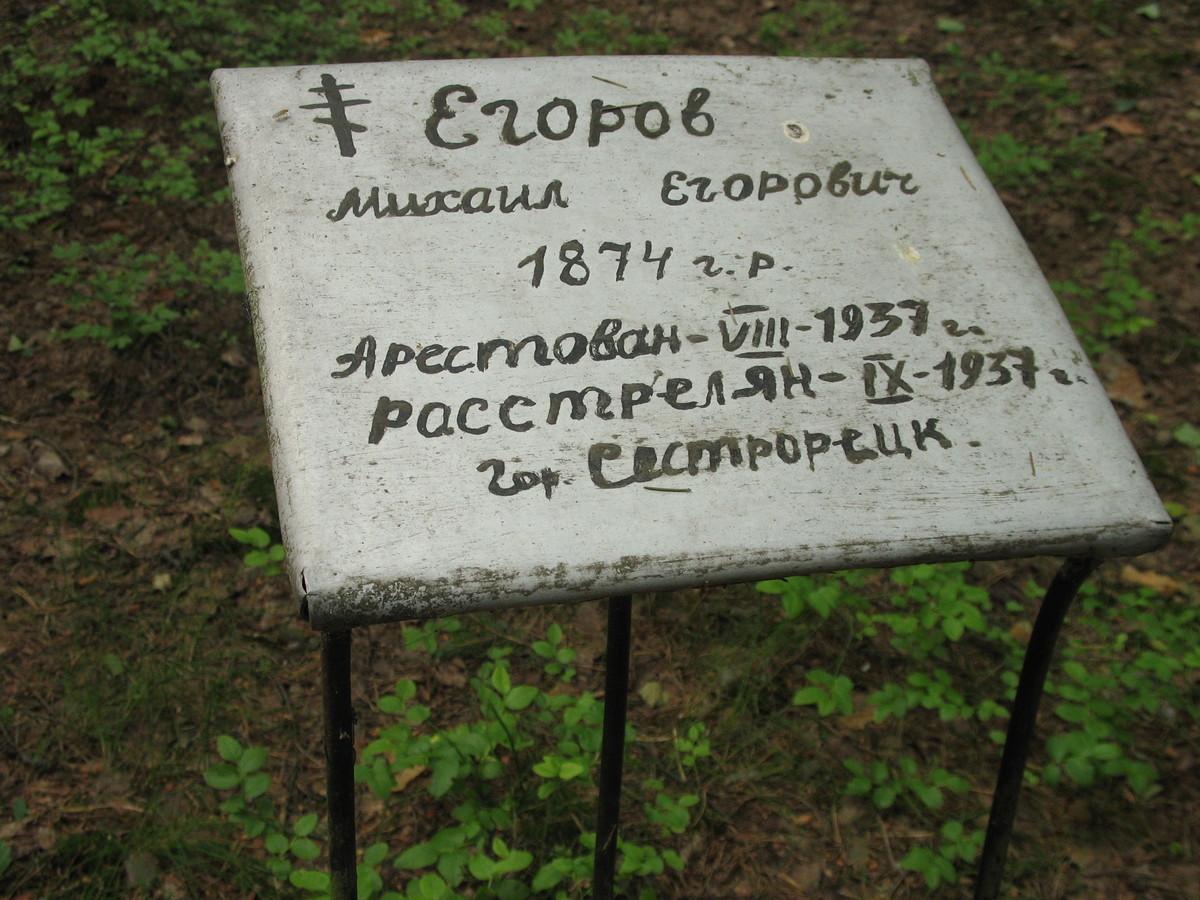 Памятный знак М. Е. Егорову. Фото 15.06.2007