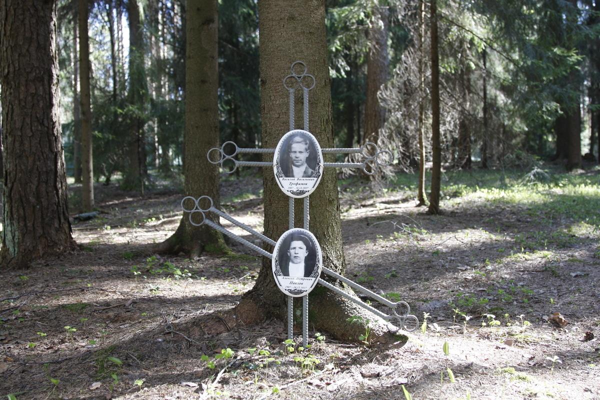 Памятный крест В. В. Трофимову и А. П. Павлову. Фото 18.05.2017